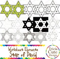 Glitter Jewish Hanukkah Chanukah Star of David Worksheet Elements Clipart! Contained in the zip file are 15 PNG files with transparent background , 300dpi and high resolution.This set includes 2 colored images and 13 black and white images.They are great for creating worksheets for tracing, cutting, drawing, counting, etc.