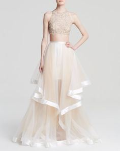 Terani Couture Gown - Beaded Crop Top & Tiered Sheer Tulle Skirt Two-Piece | Bloomingdales's