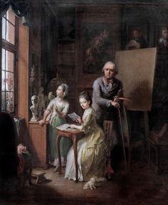 Johann Heinrich Wilhelm Tischbein - Tischbein der Ältere und seine Töchter (L'artiste et sa fille) (The artist and her daughter), 1774. Hannover Landesmuseum.
