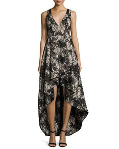 Sleeveless+Lace+High-Low+Cocktail+Dress,+Black/Sesame+by+Alice+++Olivia+at+Neiman+Marcus.