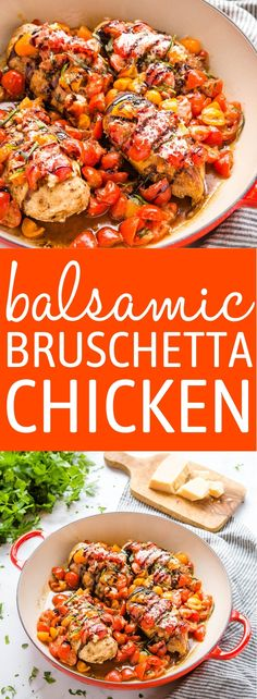 This Baked Balsamic Bruschetta Chicken is a delicious low carb main dish made in one pan in under 35 minutes! Juicy chicken breasts, fresh tomatoes, parmesan, and balsamic glaze. Recipe from thebusybaker.ca! #balsamic #chicken #tomatoes #lowcarb #keto #parmesan #healthy #health #lowfat via @busybakerblog Chicken Appetizers, Bruschetta Chicken, Easy Chicken Dinner Recipes, Baked Chicken Recipes, Lunch Recipes, Turkey Recipes, Delicious Recipes, Italian Chopped Salad, Chopped Salad Recipes
