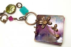 Violet Sprig Journal Necklace by JulisJewels on ArtFire