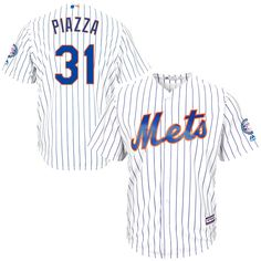 Mike Piazza New York Mets Majestic 2016 Hall Of Fame Induction Cool Base Jersey with Sleeve Patch - White - $95.39