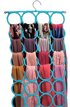 Amazon.com: Scarf Hanger ~ Multiple Purpose Holder for Closet ~ Clutter Removing and Space-Saving Hanger for Scarves, Shawl, Belts & Accessories ~ Scarf Hanger 28 Rings (Sky Blue): Home & Kitchen Scarf Rack, Scarf Holder, Loop Scarf, Tie Hanger, Space Saving Hangers, Scarf Organization, Clutter, Color Mixing, Belts