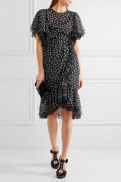 Dolce & Gabbana | Lace-trimmed polka-dot silk-blend chiffon dress | NET-A-PORTER.COM