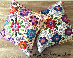Peruvian Pillow covers Hand embroidered flowers
