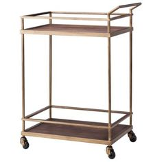 Threshold™ Wood and Brass Finish Bar Cart