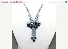 25% Off SHOP SALE, Light & Montana Blue Vintage Rhinestone Necklace. Unsigned Designer. Hi End. on Etsy, $24.00