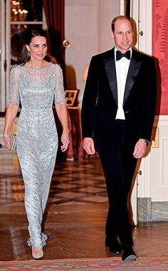 Razzle Dazzle from Kate Middleton and Prince William Visit Paris  Kate then changed her look again, this time opting for acustom-made ice blue Jenny Packham dress, and joined William at a dinner hosted by British Ambassador Edward Llewellyn.