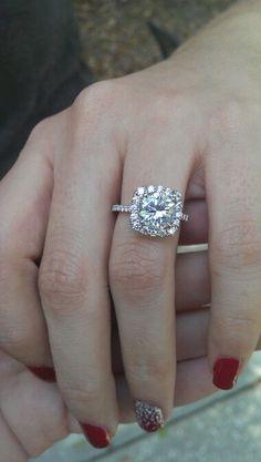 Cushion cut halo engagement ring. <3<3