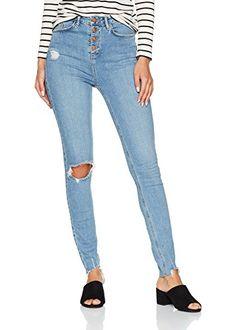 New Look Damen Highwaisted Tall Ripped Skinny Jeans Blue (Mid Blue) 42  (Herstellergröße e433997861