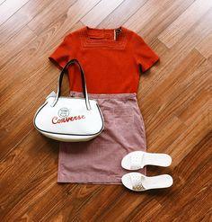 Found at Common Sort - vintage shirt, Tommy Hilfiger skirt, vintage Converse bag and Studio Pollini slides