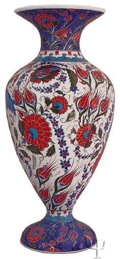 Iznik Design Ceramic Vase - Halic and Lale - # Glazes For Pottery, Ceramic Pottery, Pottery Art, Turkish Art, Turkish Tiles, Vases, Grenade, Keramik Vase, Oriental