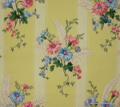 Vintage Wallpaper bright yellow stripe with blue and coral pink floral. Indigo Prints, Floral Prints, 1940s Home Decor, Buy My House, Mellow Yellow, Bright Yellow, Vintage Hippie, Print Wallpaper, Background Vintage