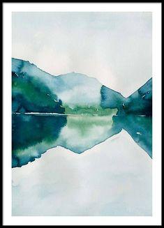 Watercolor Mountain Reflection Poster en el grupo Pósters / Tamaños / 50x70cm con Desenio AB (10123)