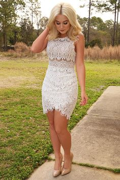 For The Love Of Lace Dress: White/Nude #shophopes