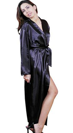 3c167fed92 Women s long satin charmeuse bath robe dressing gown in black or red with  tie-belt and inner tie. Sizes Small thru plus size