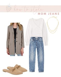 How to Wear Mom Jeans without Looking Frumpy | Strawberry Chic Mom Jeans Outfit, White Bodysuit, Plaid Blazer, Jean Outfits, Outfit Posts, Sweater Weather, Affordable Fashion, Instagram Fashion, Boyfriend Jeans