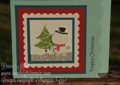 Dana Kent Stampin' Up! No Peeking Snowman Scalloped Christmas Card