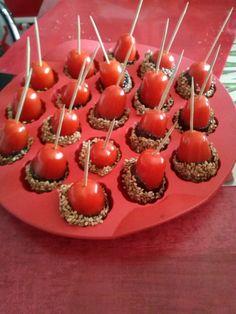 tomates cerise caramélisées au sésame