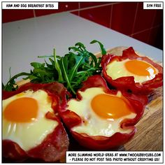 Easy to make (they take moments) ham and egg breakfast bites - syn free, tasty and ideal for a grab and go breakfast. Plus, lots of things to annoy. Slimming World Breakfasts Free, Slimming World Free, Slimming World Recipes Syn Free, Slimming World Breakfast Muffins, Sp Days Slimming World, Slimming Word, Syn Free Breakfast, Breakfast Bites, Breakfast Recipes
