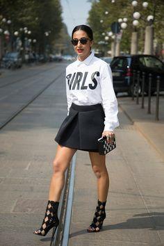 """Nausheen Shah, fashion writer  """"I'm wearing a shirt by 11 Un-Dici with a Simone Rocha skirt, Balmain shoes and a clutch by Urania Gazelli."""""""