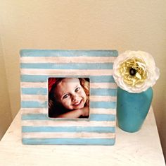 Stripe Patterned Picture Frame in Tiffany Blue & by StellabytheSea, $18.00