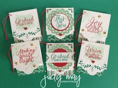Stampin' Up! Tin of Tags Stamp Set, Lots of Labels Framelits & Presents & Pinecones Washi - Judy May, Just Judy Designs