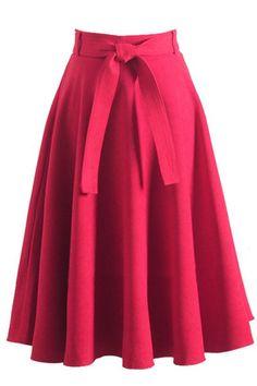 Retro High Waist Bow Belt A-Line Skirt