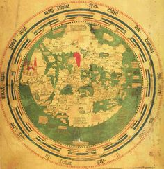 Top is South, so rotate the map 180 degrees to see the world as we are used to it.  The Red Sea is colored Red of course. I believe that is India with the large palace on the side.- - - mappa mundi of Andreas Walsperger, 1448