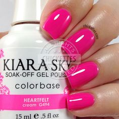 Kiara Sky recently launched a new collection called Mirror Image that is comprised of 14 new colors! Kiara Sky is a gel polish (base coat is o… Sns Nails Colors, Toe Nail Color, Gel Polish Colors, Cute Nails, Pretty Nails, Kiara Sky Gel Polish, Chipped Nail Polish, No Chip Nails, American Nails