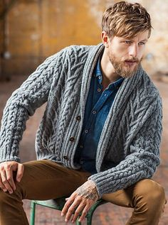 For son number 2 - containing two of my favourite knitted elements - cables and shawl collar. Gotta love Brooklyn Tweed!
