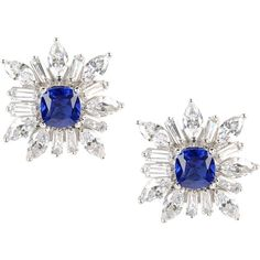 Cz By Kenneth Jay Lane Earrings ($130) ❤ liked on Polyvore featuring jewelry, earrings, blue, cz by kenneth jay lane, cz jewelry, cz earrings, blue earrings and blue jewelry