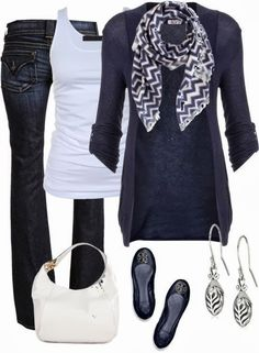 see more Adorable Outfit - Jeans, Blouse, Sweater, Scarf, Tory Burch Shoes, Handbag
