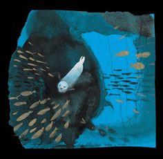 Kotik the Seal chasing fish by Józef Wilkoń