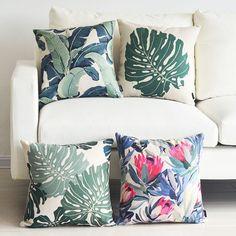 Rainforest Monstera Banana Leaf Protea Flower Cushion Cover Throw Pillow Case | eBay