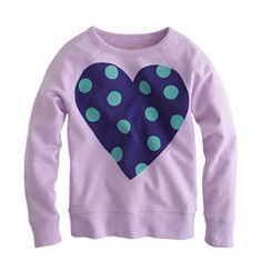 Girls' polka-dot heart sweatshirt