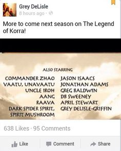 The Legend of Korra/ Avatar the Last Airbender: Grey Delisle-Griffen voice of Azula was the dark spider spirit and spirit mushroom! And she'll be doing voice over acting in book 3!!