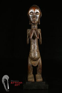 Fine Luba Figure on Custom Base African Tribal Art