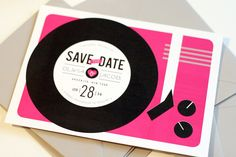 Record Player Save the Date - Vinyl - Music Lovers - Vintage Music - Hipster Wedding - Printable