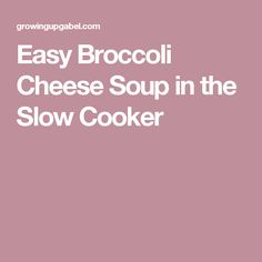 Easy Broccoli Cheese Soup in the Slow Cooker