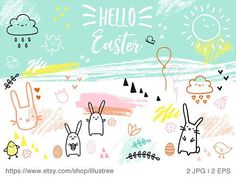Hand drawn Easter card, printable Easter card, bunny, Easter egg, cute, doodle, spring, printable card, 5x7, JPG, EPS, instant download