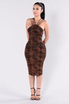 Glitter Sensation Dress - Black/Rust