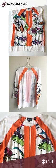 Stunning Just Cavalli silk top Gorgeous white semi-sheer silk Cavalli blouse with orange and tropical floral print details. Dry clean only. European size 48 (US 18).  RBM600-18 OD Just Cavalli Tops