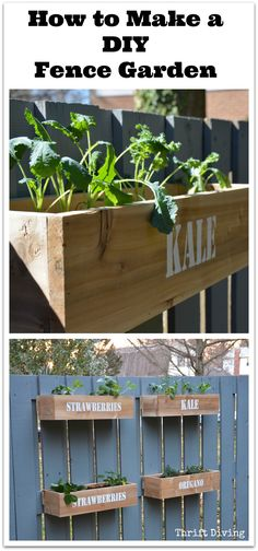 How to make a DIY fence garden: You don't need a huge back yard to have a garden. In this VIDEO TUTORIAL, watch how I paint my old fence and build cedar planters for a DIY fence garden. Super easy!   Thrift Diving