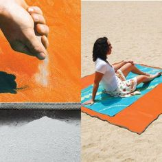 CGear's sandless beach mat's top layer lets sand pass through while it's bottom layer keeps sand underneath!! Whaaat!!?? Go sandless now at www.sandlessreviews.com