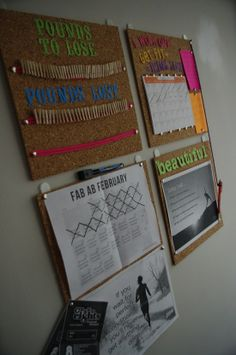 Motivation Board. This is really cool. You have how much weight you have to lose and how much you have lost- without displaying the actual number. You have a meal planning board. A board with a month of workouts and motivational quotes to keep you going. PERFECT!.