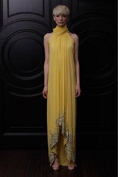 sleeveless yellow dress resort 2013  Naeem Khan