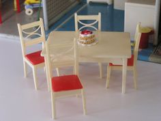 Dollhouse Miniature Vintage Renwal Kitchen or Dining Table and Four Chairs Ivory and Red Plastic 3/4 Scale AND A Cake