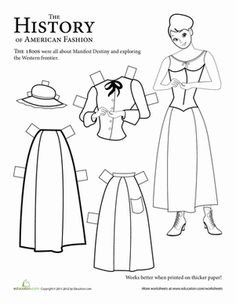 Second Grade Paper Dolls History Worksheets: Historical Paper Doll: 1800s